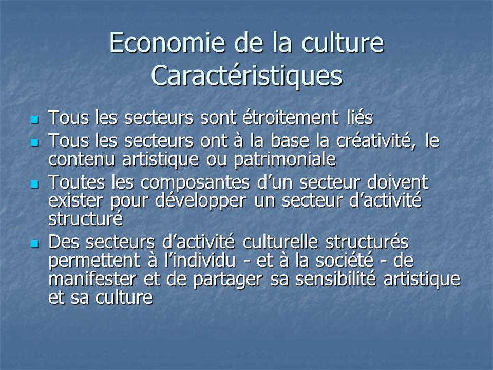 Economie de la culture Caractéristiques Tous les secteurs sont étroitement liés Tous les secteurs sont étroitement liés Tous les secteurs ont à la base la créativité, le contenu artistique ou patrimoniale Tous les secteurs ont à la base la créativité, le contenu artistique ou patrimoniale Toutes les composantes dun secteur doivent exister pour développer un secteur dactivité structuré Toutes les composantes dun secteur doivent exister pour développer un secteur dactivité structuré Des secteurs dactivité culturelle structurés permettent à lindividu - et à la société - de manifester et de partager sa sensibilité artistique et sa culture Des secteurs dactivité culturelle structurés permettent à lindividu - et à la société - de manifester et de partager sa sensibilité artistique et sa culture