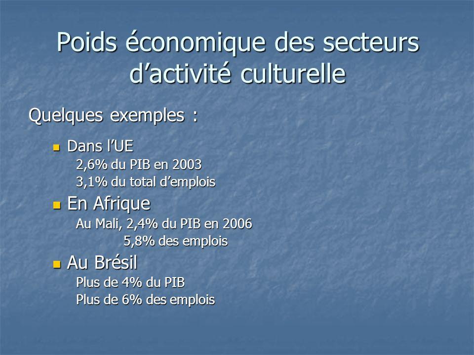 Poids économique des secteurs dactivité culturelle Quelques exemples : Dans lUE Dans lUE 2,6% du PIB en 2003 3,1% du total demplois En Afrique En Afrique Au Mali, 2,4% du PIB en 2006 5,8% des emplois Au Brésil Au Brésil Plus de 4% du PIB Plus de 6% des emplois