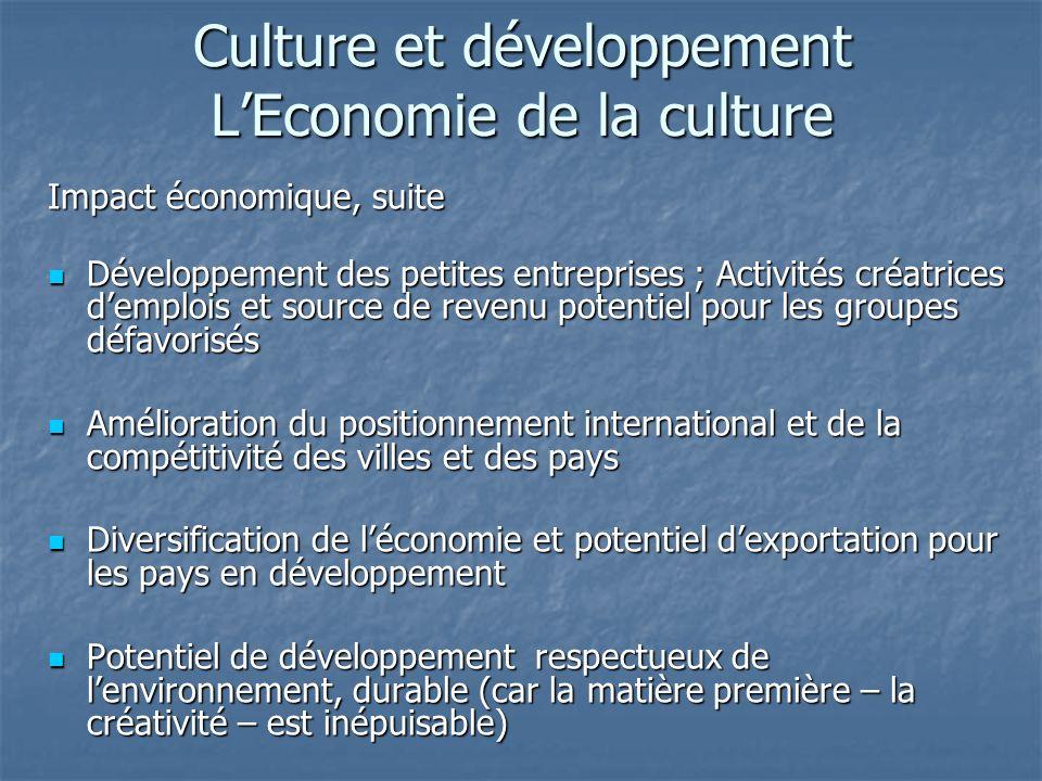Culture et développement LEconomie de la culture Impact économique, suite Développement des petites entreprises ; Activités créatrices demplois et source de revenu potentiel pour les groupes défavorisés Développement des petites entreprises ; Activités créatrices demplois et source de revenu potentiel pour les groupes défavorisés Amélioration du positionnement international et de la compétitivité des villes et des pays Amélioration du positionnement international et de la compétitivité des villes et des pays Diversification de léconomie et potentiel dexportation pour les pays en développement Diversification de léconomie et potentiel dexportation pour les pays en développement Potentiel de développement respectueux de lenvironnement, durable (car la matière première – la créativité – est inépuisable) Potentiel de développement respectueux de lenvironnement, durable (car la matière première – la créativité – est inépuisable)