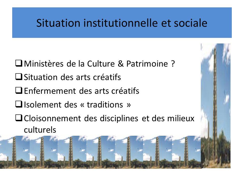 Situation institutionnelle et sociale Ministères de la Culture & Patrimoine ? Situation des arts créatifs Enfermement des arts créatifs Isolement des