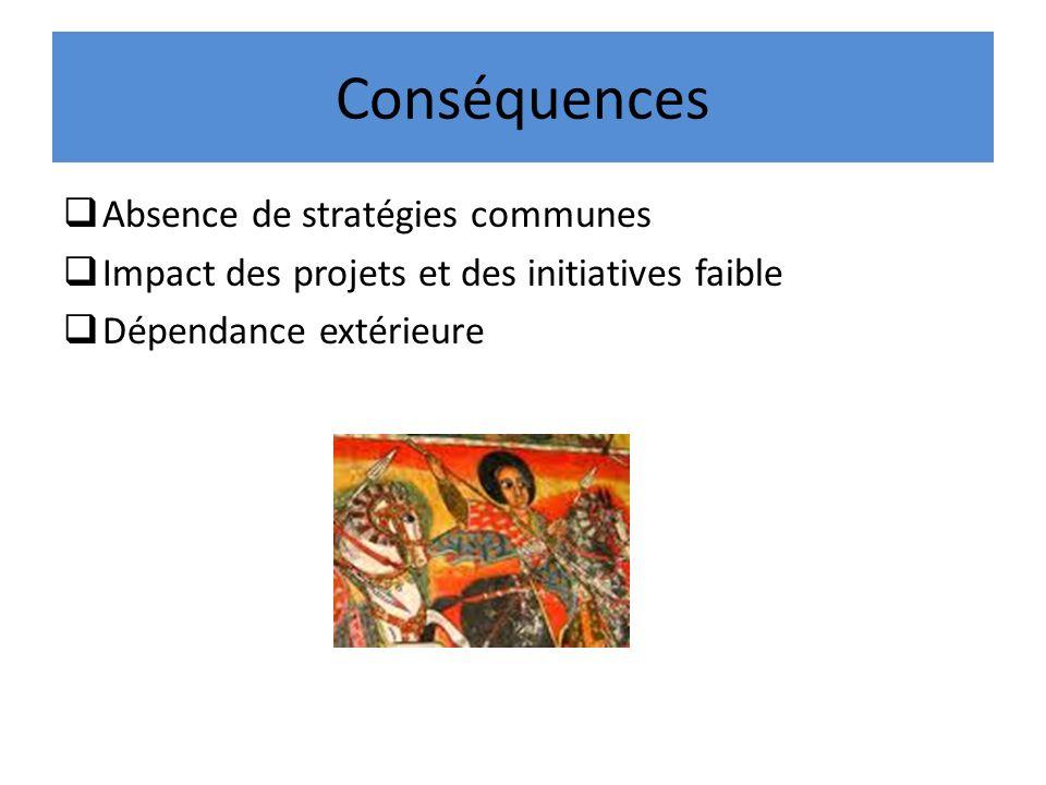 Conséquences Absence de stratégies communes Impact des projets et des initiatives faible Dépendance extérieure
