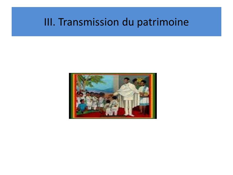 III. Transmission du patrimoine