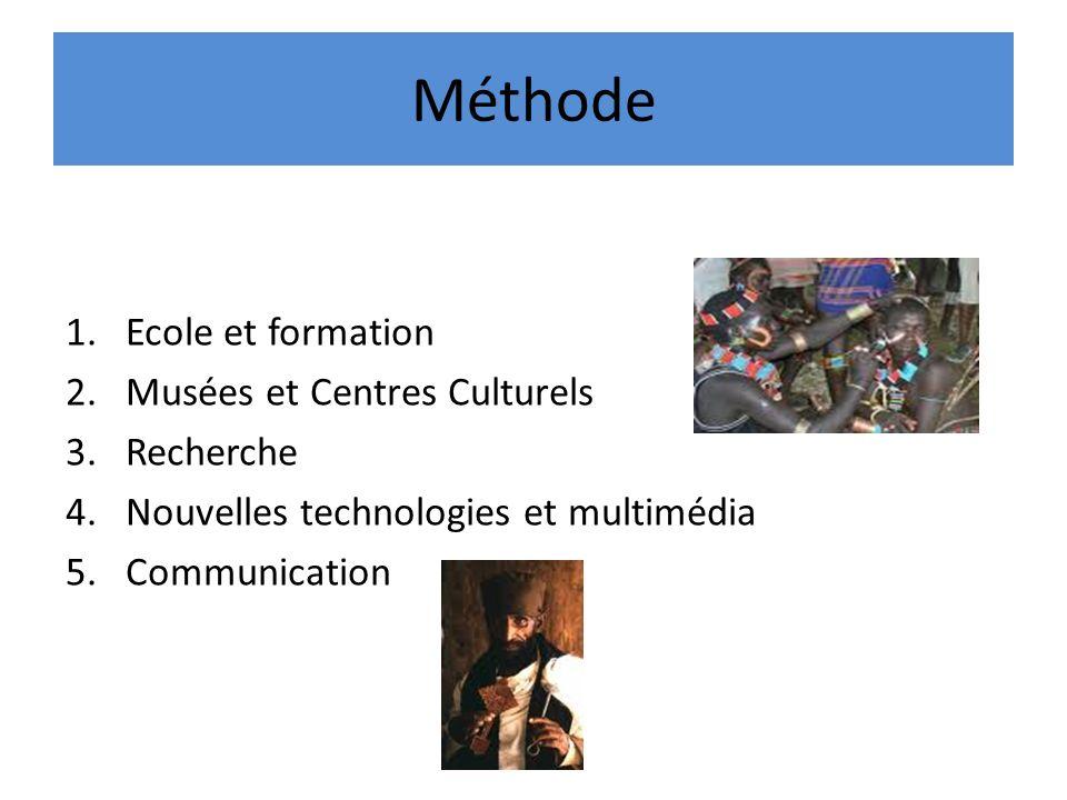 Méthode 1.Ecole et formation 2.Musées et Centres Culturels 3.Recherche 4.Nouvelles technologies et multimédia 5.Communication