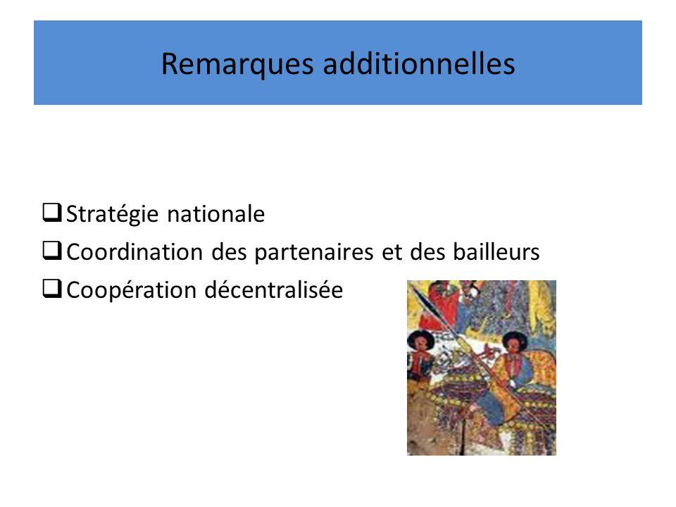 Remarques additionnelles Stratégie nationale Coordination des partenaires et des bailleurs Coopération décentralisée