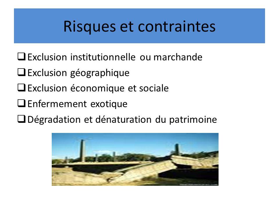 Risques et contraintes Exclusion institutionnelle ou marchande Exclusion géographique Exclusion économique et sociale Enfermement exotique Dégradation et dénaturation du patrimoine