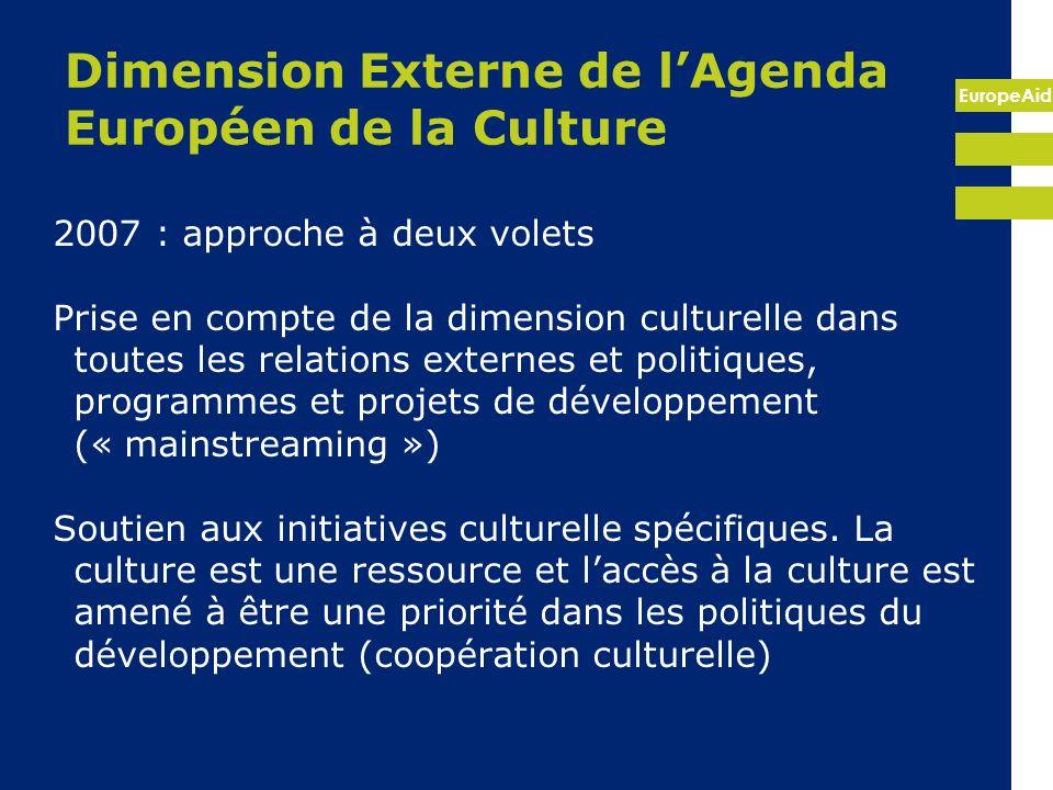 EuropeAid Article 27 : « sauvegarder et valoriser le patrimoine culturel, appuyer le développement des capacités dans ce secteur » Deuxième révision (2010) ajoute éducation et jeunesse comme dimensions Accord de Cotonou