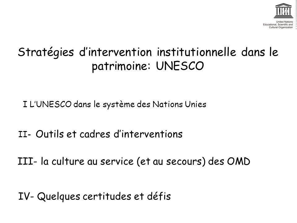 Stratégies dintervention institutionnelle dans le patrimoine: UNESCO I LUNESCO dans le système des Nations Unies II- Outils et cadres dinterventions III- la culture au service (et au secours) des OMD IV- Quelques certitudes et défis