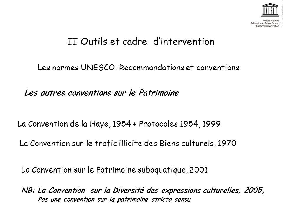 II Outils et cadre dintervention Les autres conventions sur le Patrimoine La Convention de la Haye, 1954 + Protocoles 1954, 1999 NB: La Convention sur