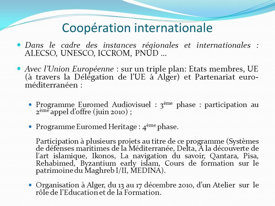 Coopération internationale Dans le cadre des instances régionales et internationales : ALECSO, UNESCO, ICCROM, PNUD … Avec lUnion Européenne : sur un