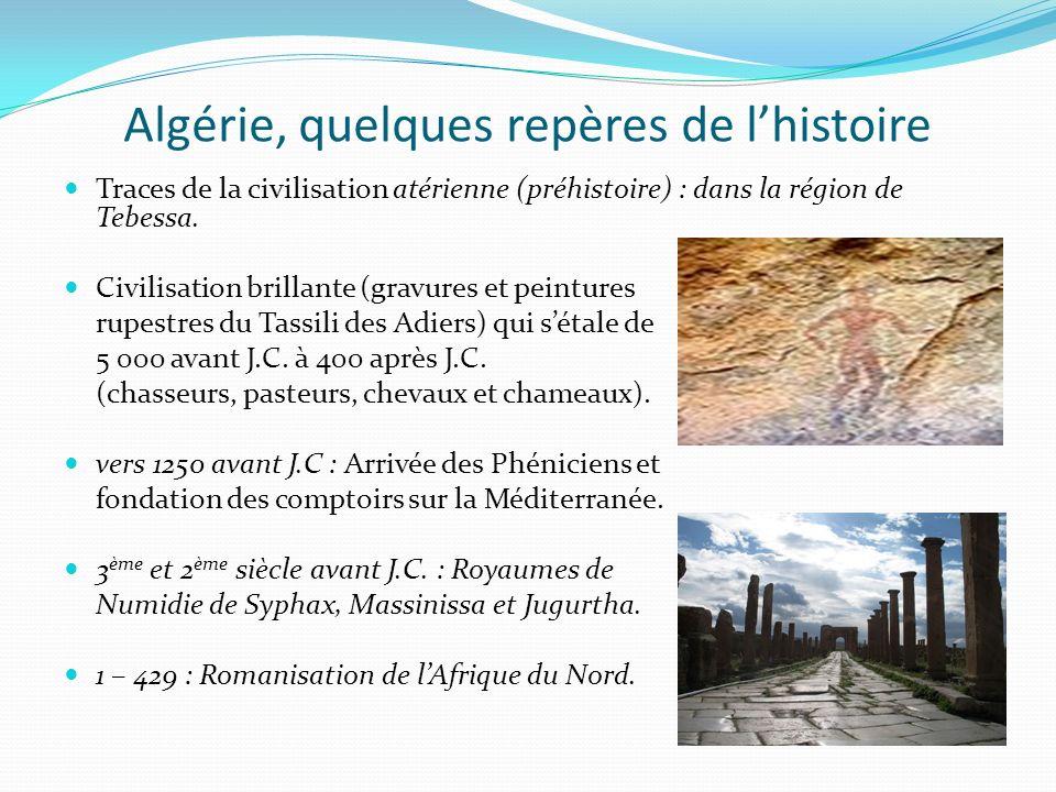 Algérie, quelques repères de lhistoire Traces de la civilisation atérienne (préhistoire) : dans la région de Tebessa. Civilisation brillante (gravures