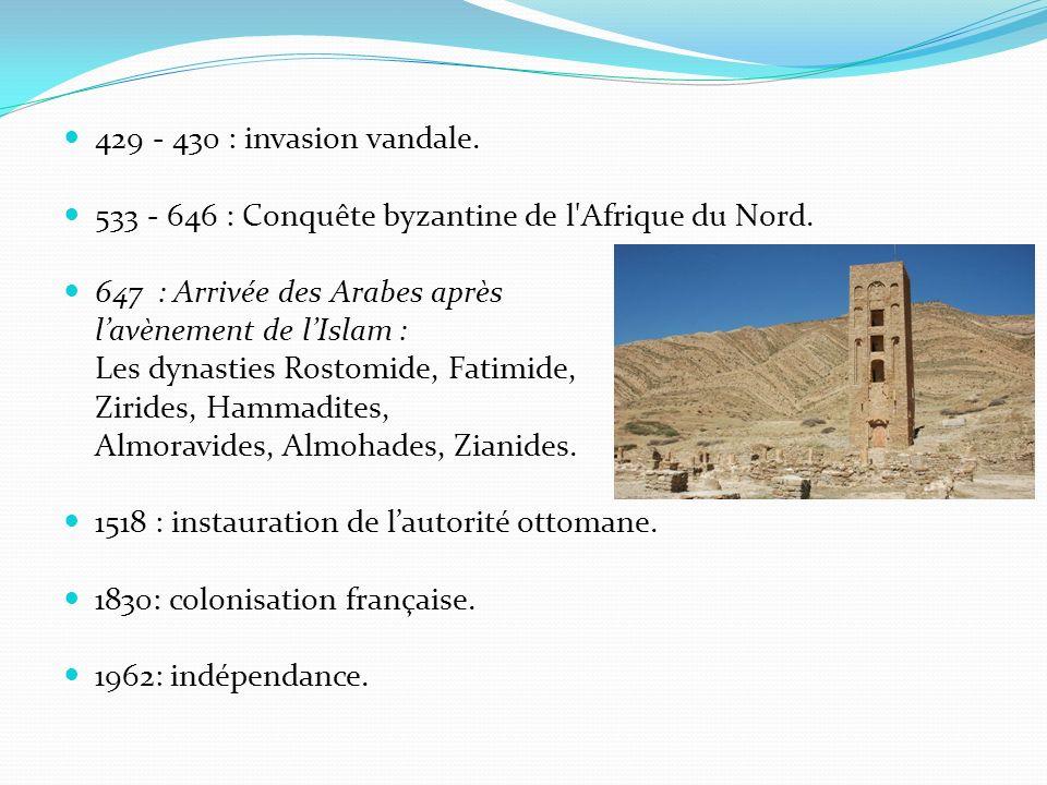 429 - 430 : invasion vandale. 533 - 646 : Conquête byzantine de l'Afrique du Nord. 647 : Arrivée des Arabes après lavènement de lIslam : Les dynasties