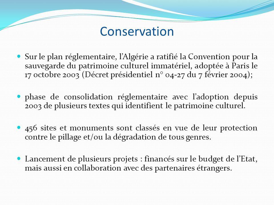 Conservation Sur le plan réglementaire, lAlgérie a ratifié la Convention pour la sauvegarde du patrimoine culturel immatériel, adoptée à Paris le 17 o