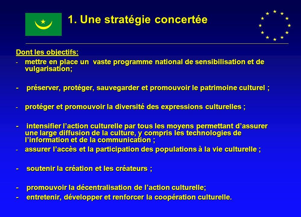 1. Une stratégie concertée Dont les objectifs: - mettre en place un vaste programme national de sensibilisation et de vulgarisation; - préserver, prot