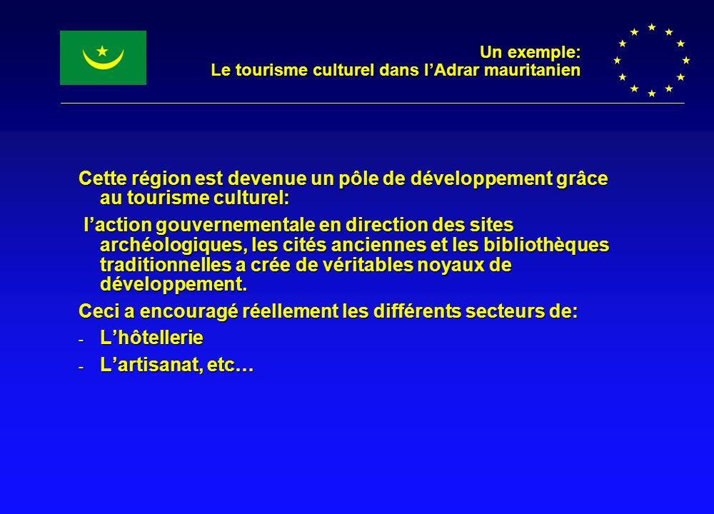 Un exemple: Le tourisme culturel dans lAdrar mauritanien Cette région est devenue un pôle de développement grâce au tourisme culturel: laction gouvern