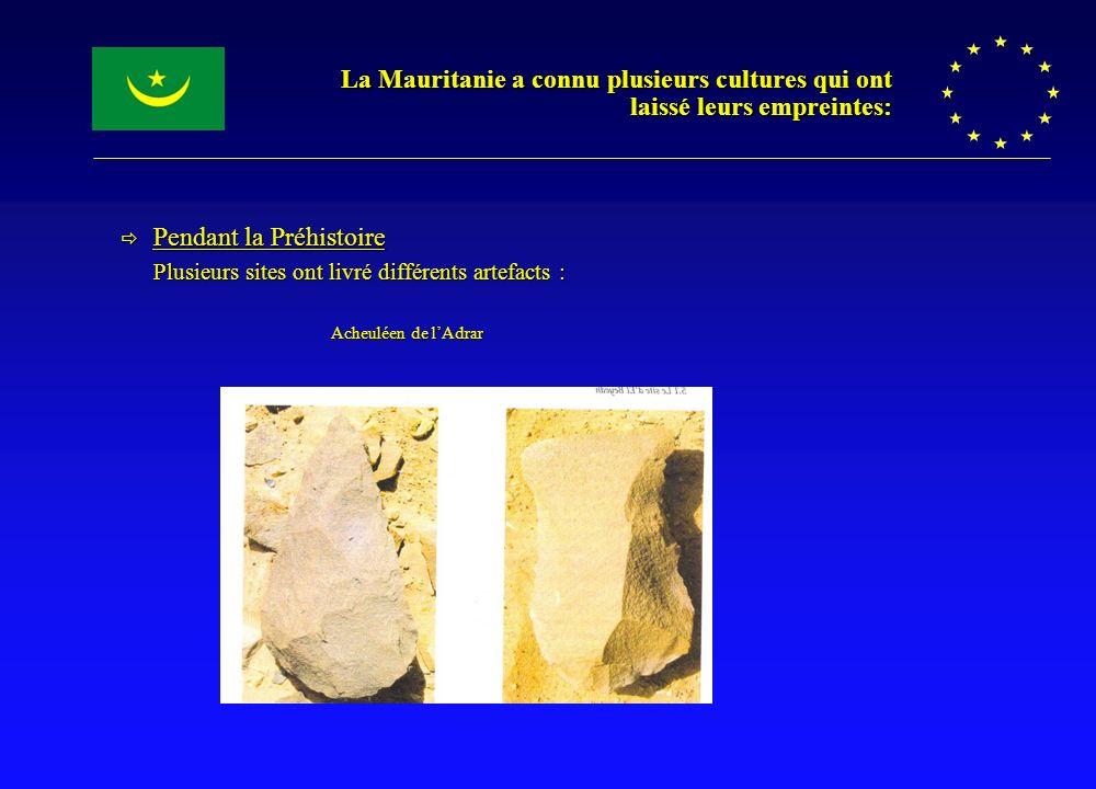 La Mauritanie a connu plusieurs cultures qui ont laissé leurs empreintes: Pendant la Préhistoire Pendant la Préhistoire Plusieurs sites ont livré diff