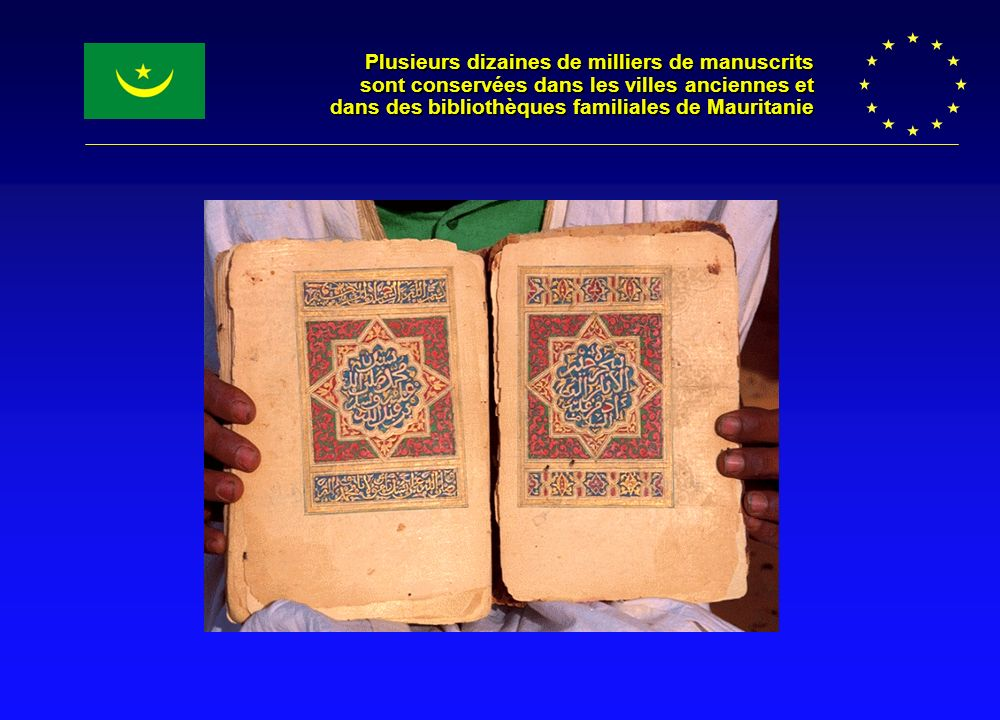 Plusieurs dizaines de milliers de manuscrits sont conservées dans les villes anciennes et dans des bibliothèques familiales de Mauritanie