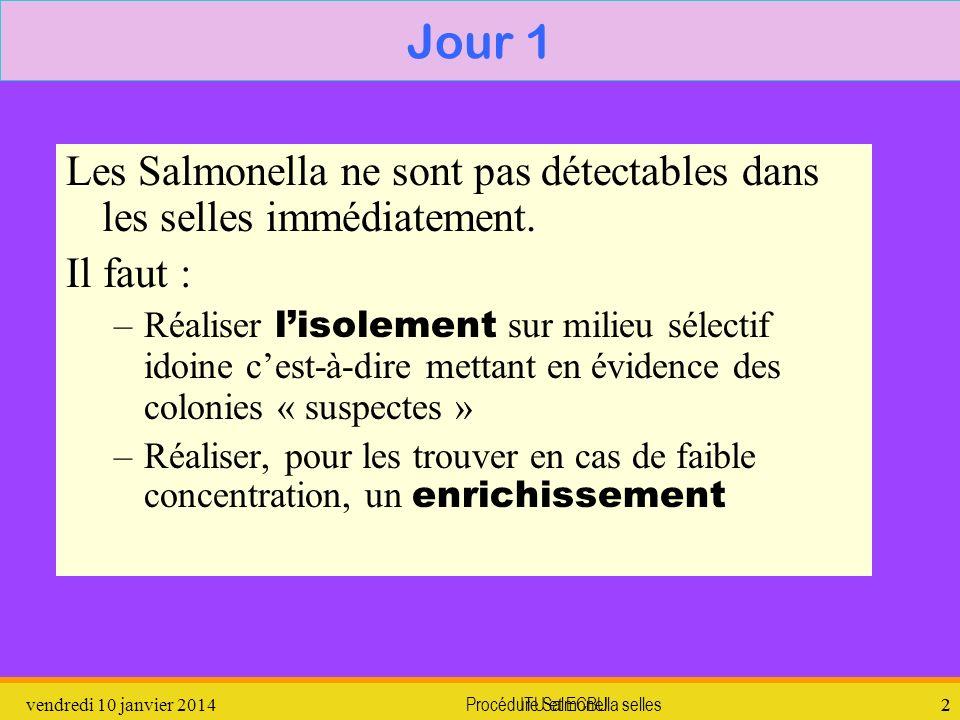 Procédure Salmonella selles3 Caractères biochimiques des Salmonella : Glucides : lactose, saccharose et salicine - H 2 S en général + Uréase - Dautres caractères sont utilisés dans les milieux chromogènes et XLD (p 167) 1.