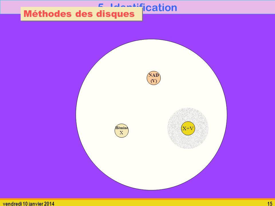 vendredi 10 janvier 201415 5. Identification Méthodes des disques Hémine X X+V NAD (V)