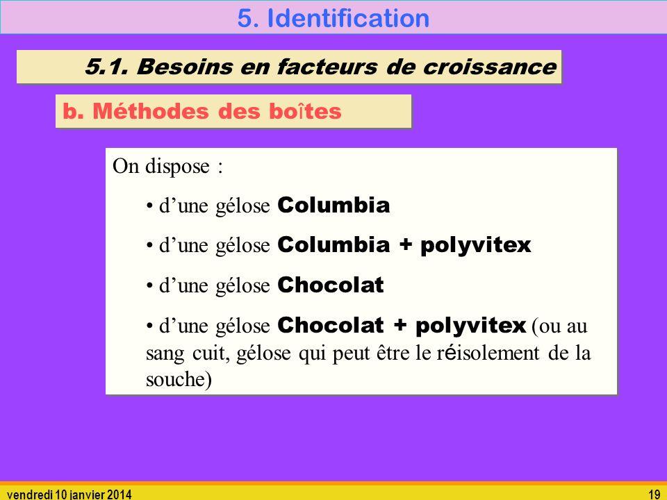 vendredi 10 janvier 201419 5. Identification 5.1. Besoins en facteurs de croissance b. Méthodes des bo î tes On dispose : dune gélose Columbia dune gé