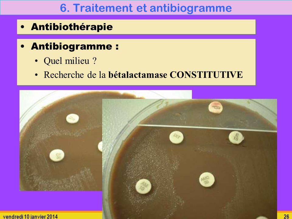 vendredi 10 janvier 201426 6. Traitement et antibiogramme Antibiothérapie Antibiogramme : Quel milieu ? Recherche de la bétalactamase CONSTITUTIVE Ant