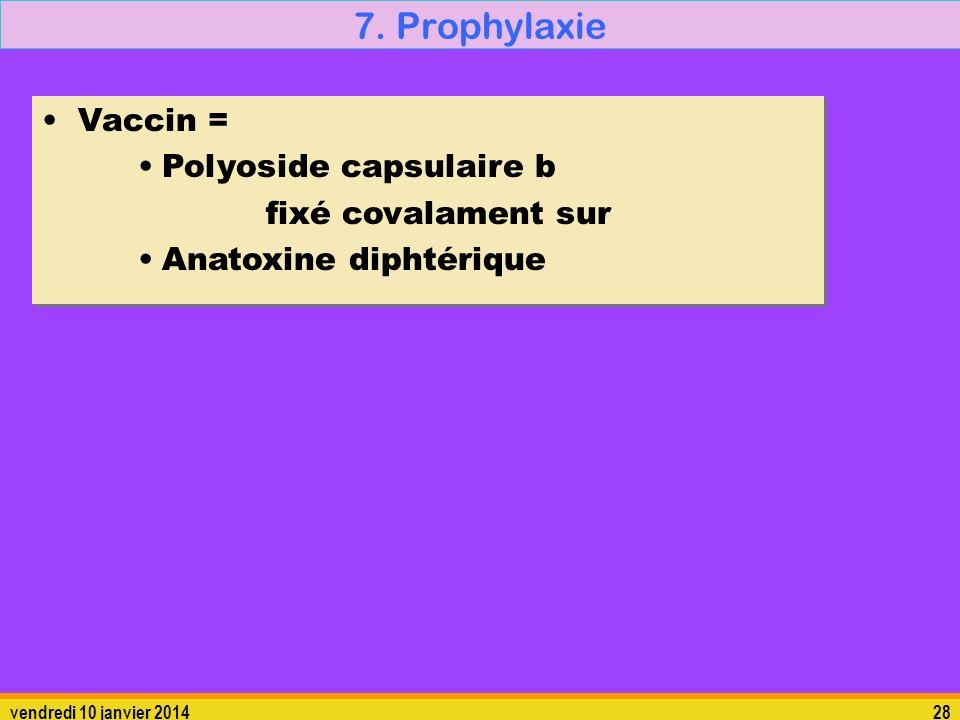 vendredi 10 janvier 201428 7. Prophylaxie Vaccin = Polyoside capsulaire b fixé covalament sur Anatoxine diphtérique Vaccin = Polyoside capsulaire b fi