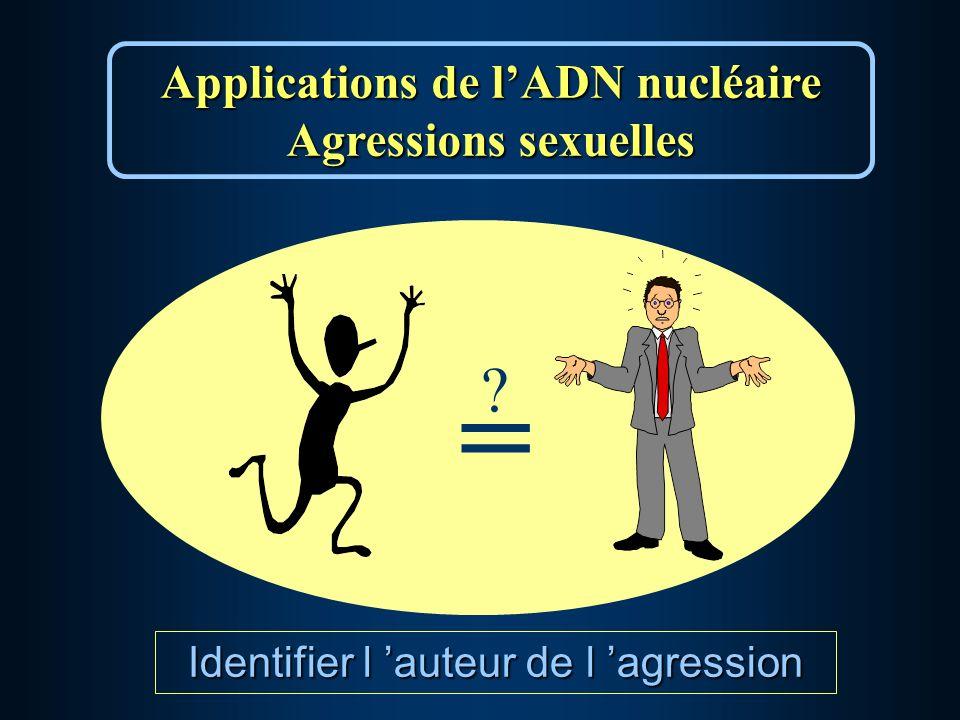 Applications de lADN nucléaire Agressions sexuelles = ? Identifier l auteur de l agression
