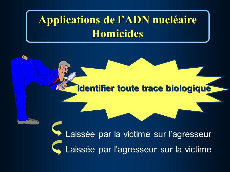 Identifier toute trace biologique Applications de lADN nucléaire Homicides Laissée par la victime sur lagresseur Laissée par lagresseur sur la victime