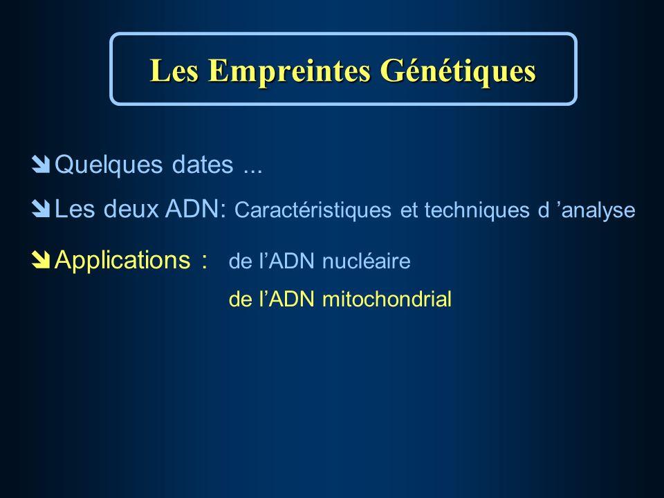 Les Empreintes Génétiques îQuelques dates...