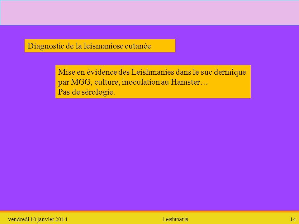 vendredi 10 janvier 2014Leishmania14 Mise en évidence des Leishmanies dans le suc dermique par MGG, culture, inoculation au Hamster… Pas de sérologie.