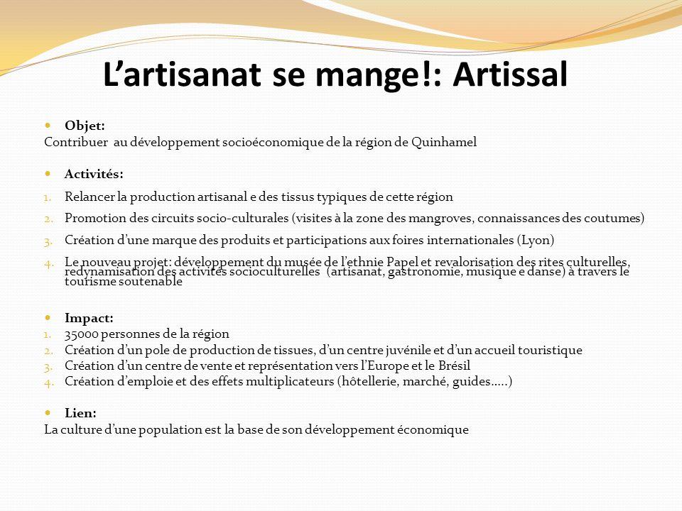 Lartisanat se mange!: Artissal Objet: Contribuer au développement socioéconomique de la région de Quinhamel Activités: 1.