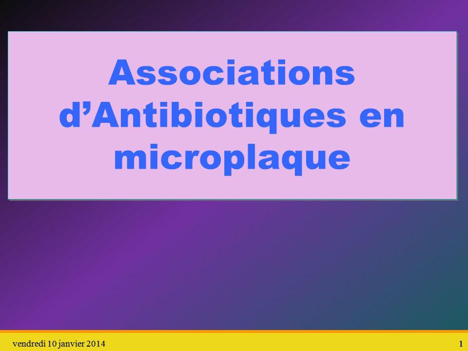2vendredi 10 janvier 201422 2 Objectif : Proposer, aux bactéries, un milieu de culture contenant 2 antibiotiques à des concentrations variables En A1 : richesse en antibiotiques A et B En H8 : absence dantibiotiques A et B