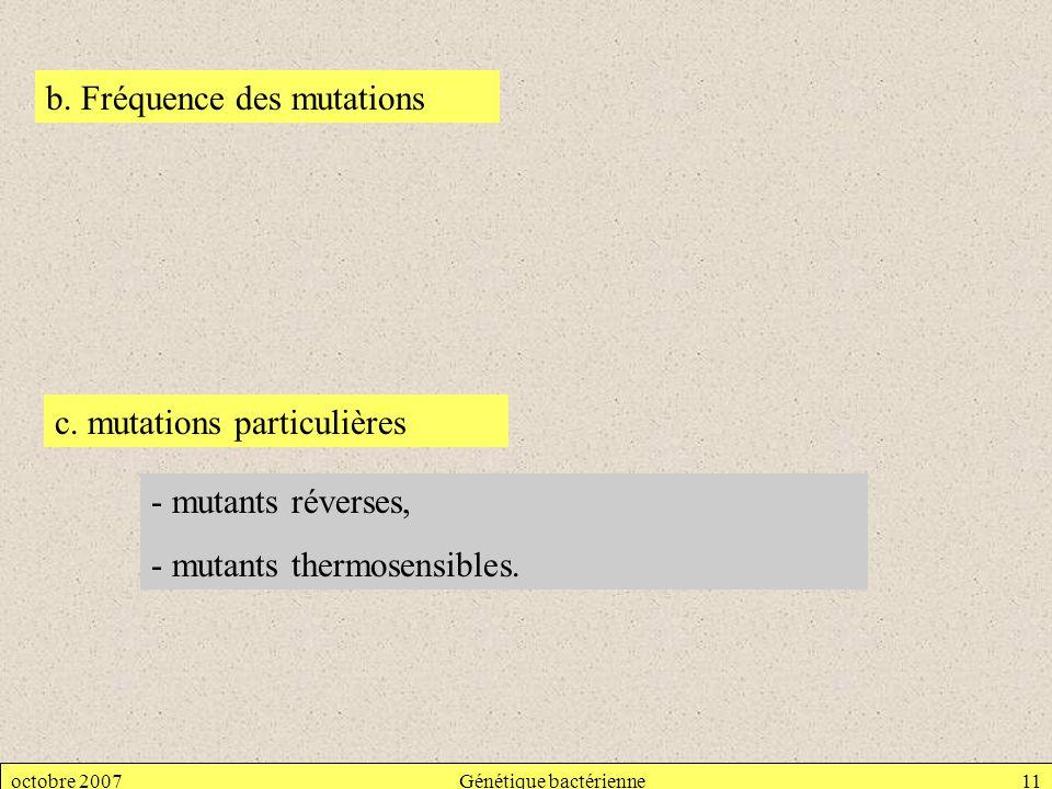 octobre 2007Génétique bactérienne11 b. Fréquence des mutations c. mutations particulières - mutants réverses, - mutants thermosensibles.