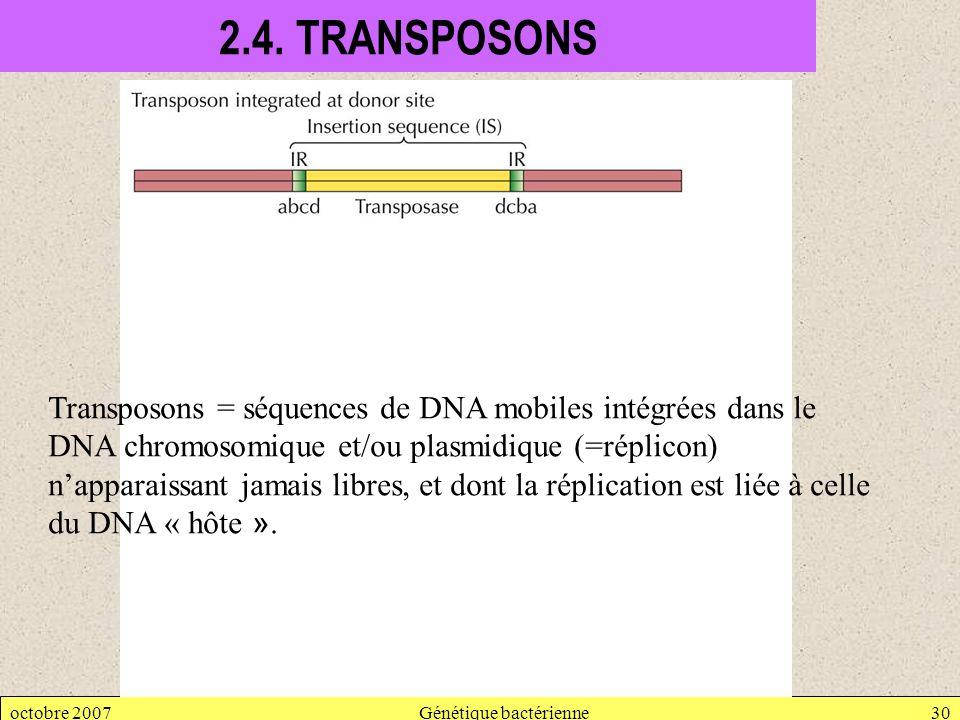 octobre 2007Génétique bactérienne30 2.4. TRANSPOSONS Transposons = séquences de DNA mobiles intégrées dans le DNA chromosomique et/ou plasmidique (=ré