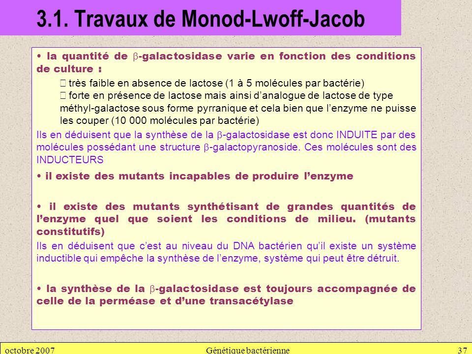 octobre 2007Génétique bactérienne37 3.1. Travaux de Monod-Lwoff-Jacob la quantité de -galactosidase varie en fonction des conditions de culture : très