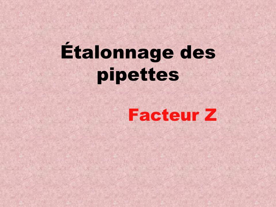 Étalonnage des pipettes Facteur Z