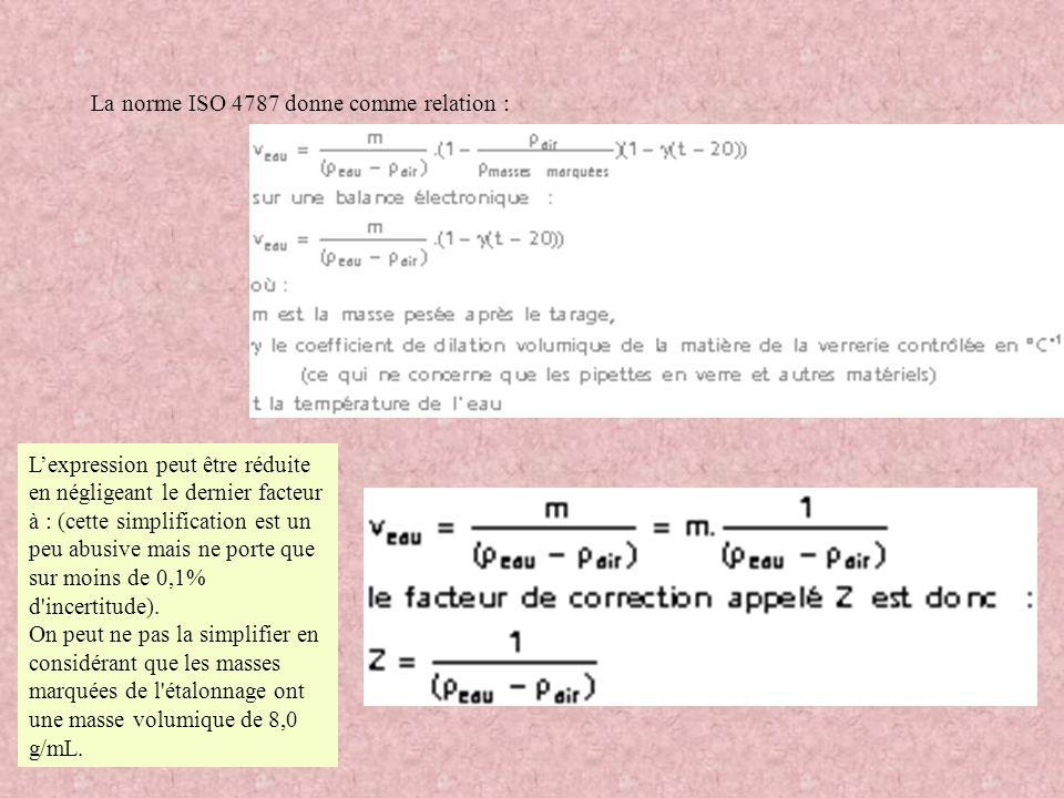 La norme ISO 4787 donne comme relation : Lexpression peut être réduite en négligeant le dernier facteur à : (cette simplification est un peu abusive m