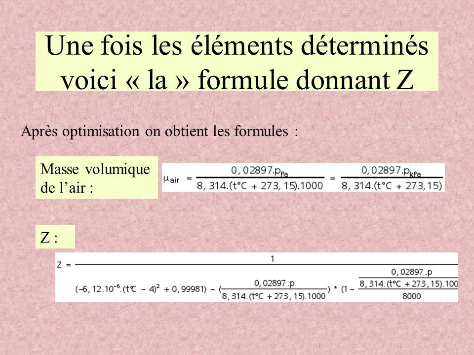 Une fois les éléments déterminés voici « la » formule donnant Z Après optimisation on obtient les formules : Masse volumique de lair : Z :