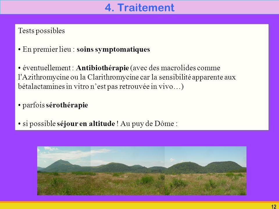 12 4. Traitement Tests possibles En premier lieu : soins symptomatiques éventuellement : Antibiothérapie (avec des macrolides comme lAzithromycine ou