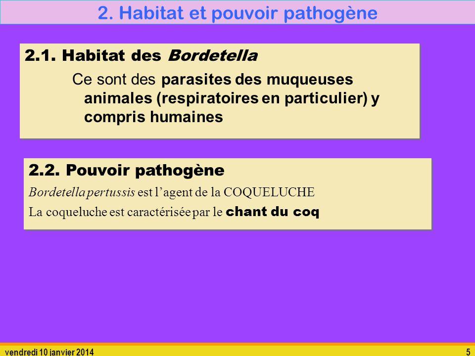 vendredi 10 janvier 20145 2. Habitat et pouvoir pathogène 2.1. Habitat des Bordetella Ce sont des parasites des muqueuses animales (respiratoires en p