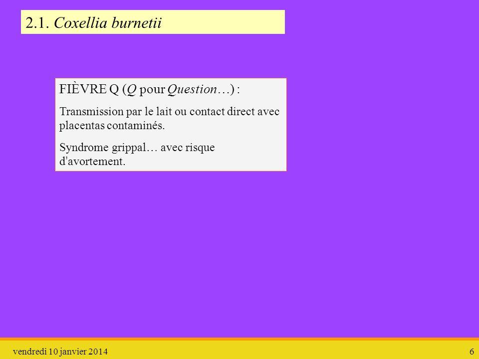 vendredi 10 janvier 20146 FIÈVRE Q (Q pour Question…) : Transmission par le lait ou contact direct avec placentas contaminés. Syndrome grippal… avec r