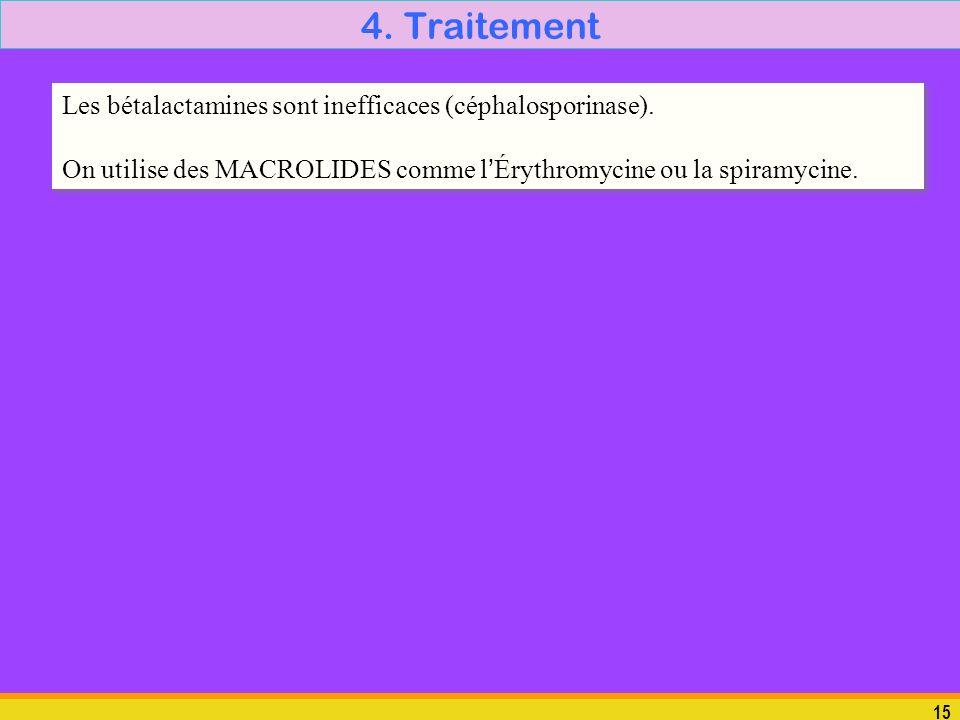 15 4. Traitement Les bétalactamines sont inefficaces (céphalosporinase). On utilise des MACROLIDES comme lÉrythromycine ou la spiramycine. Les bétalac