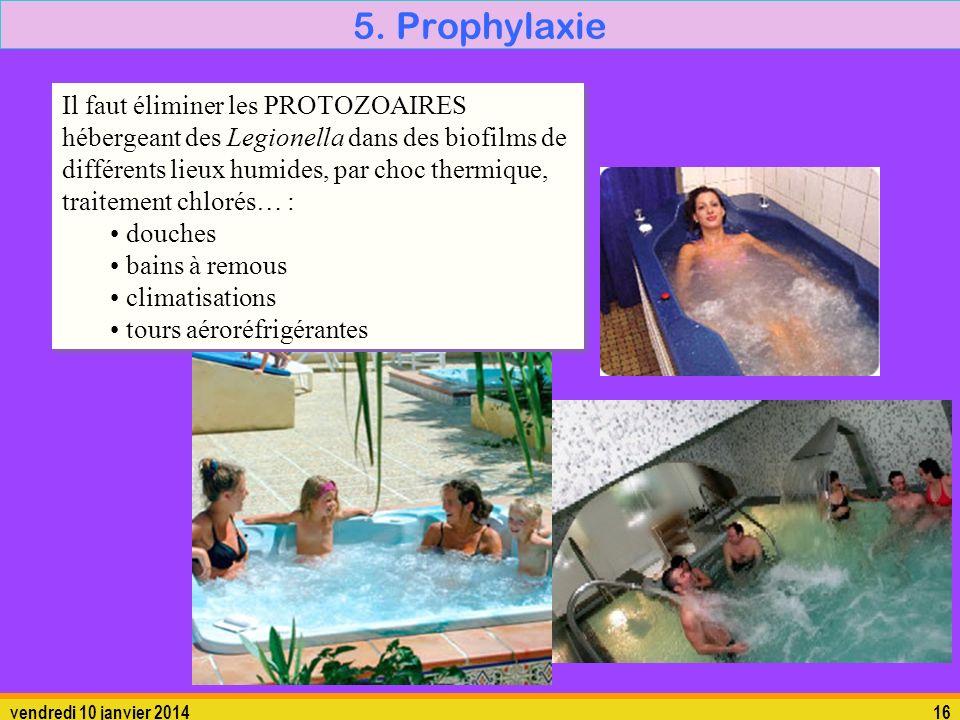 vendredi 10 janvier 201416 5. Prophylaxie Il faut éliminer les PROTOZOAIRES hébergeant des Legionella dans des biofilms de différents lieux humides, p