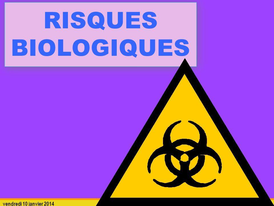 vendredi 10 janvier 2014 risques biologiques 22 La transmission des agents pathogènes Pour le laborantin : La voie principale est PULMONAIRE via les aérosols, cest-à-dire les agents en suspension dans lair.