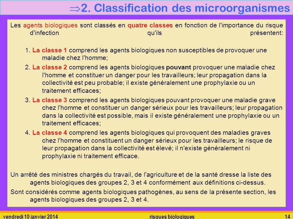 vendredi 10 janvier 2014 risques biologiques 14 2. Classification des microorganismes Les agents biologiques sont classés en quatre classes en fonctio
