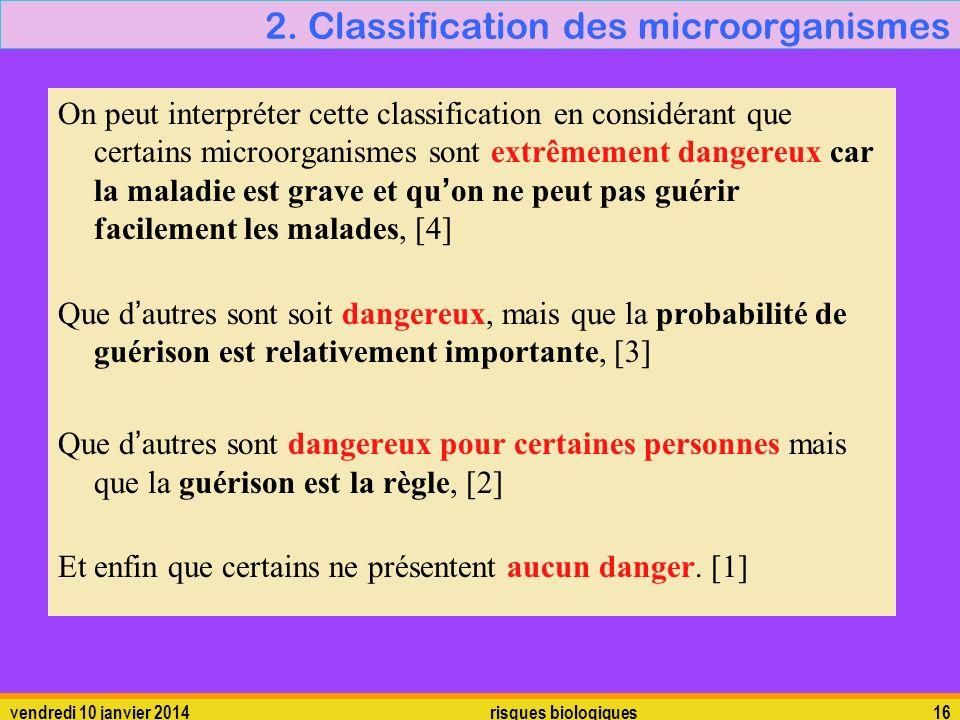 vendredi 10 janvier 2014 risques biologiques 16 2. Classification des microorganismes On peut interpréter cette classification en considérant que cert