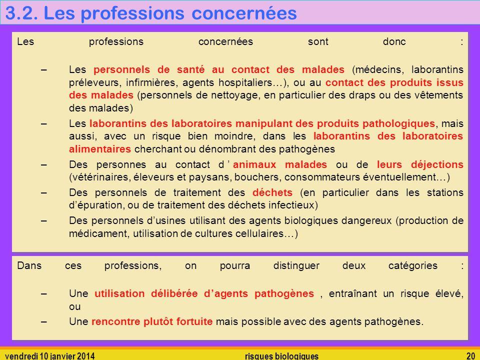 vendredi 10 janvier 2014 risques biologiques 20 3.2. Les professions concernées Les professions concernées sont donc : –Les personnels de santé au con