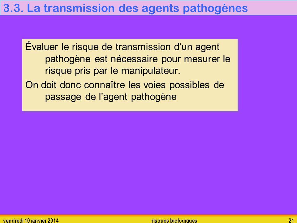 vendredi 10 janvier 2014 risques biologiques 21 3.3. La transmission des agents pathogènes Évaluer le risque de transmission dun agent pathogène est n