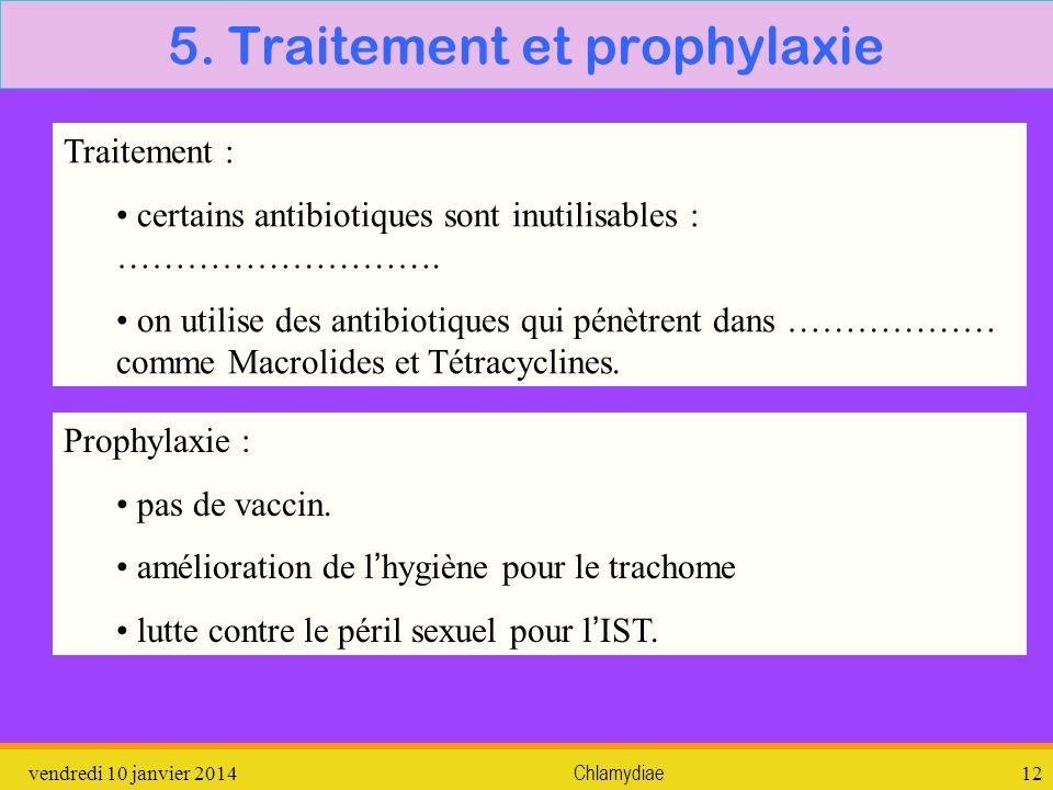 vendredi 10 janvier 2014Chlamydiae12 5. Traitement et prophylaxie Traitement : certains antibiotiques sont inutilisables : ………………………. on utilise des a