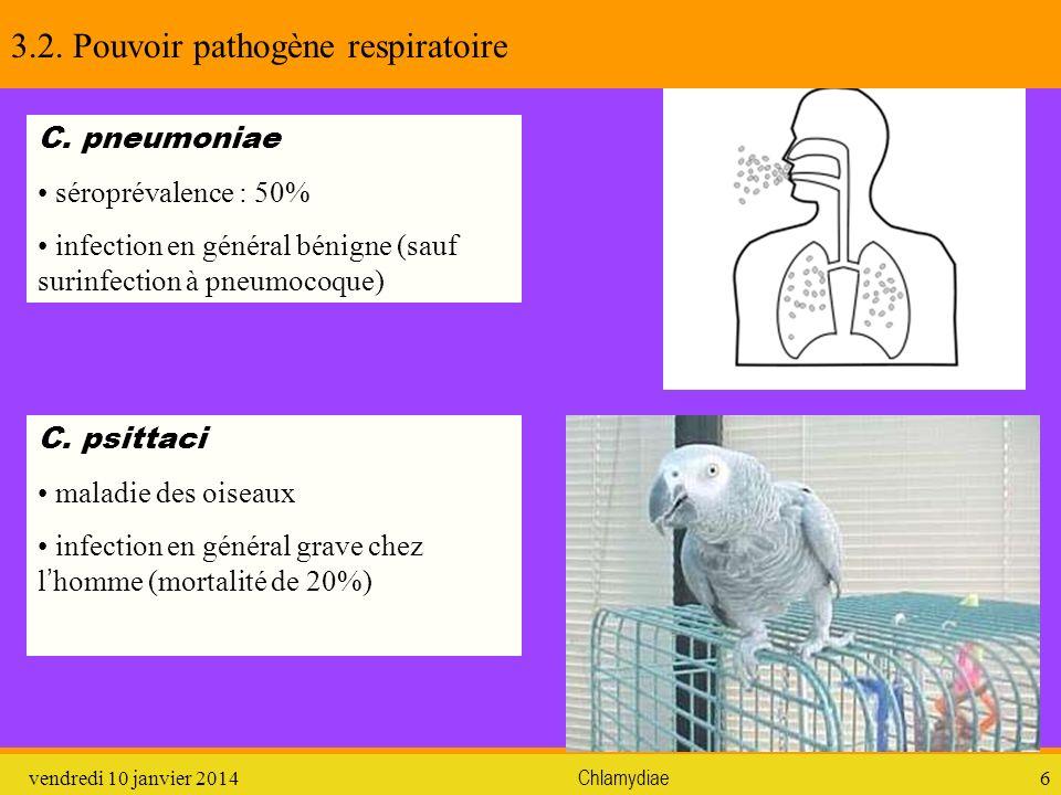 vendredi 10 janvier 2014Chlamydiae6 3.2. Pouvoir pathogène respiratoire C. pneumoniae séroprévalence : 50% infection en général bénigne (sauf surinfec