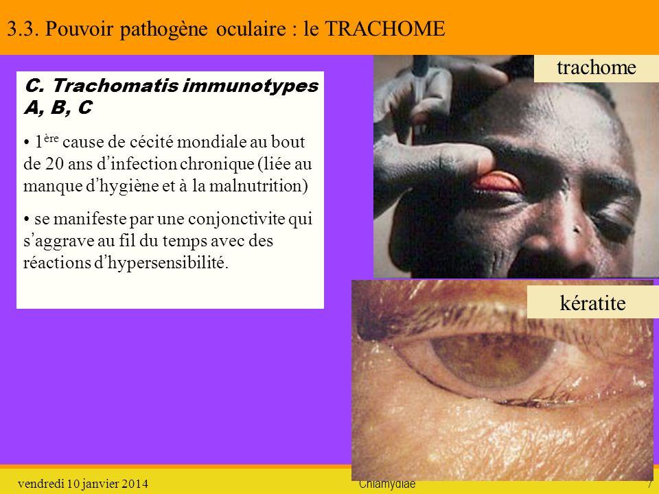 vendredi 10 janvier 2014Chlamydiae7 trachome kératite 3.3. Pouvoir pathogène oculaire : le TRACHOME C. Trachomatis immunotypes A, B, C 1 ère cause de